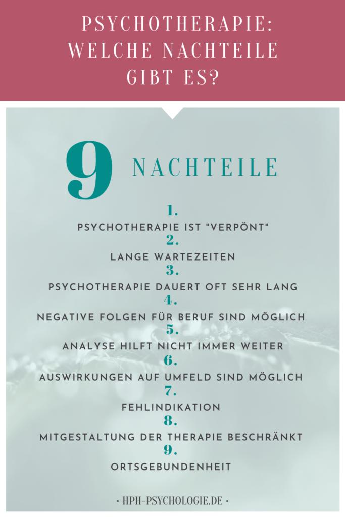 Psychotherapie hat 9 Nachteile
